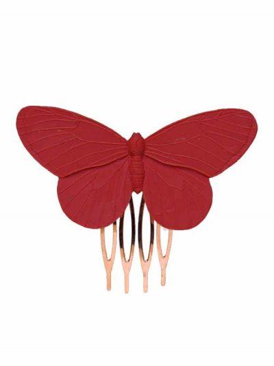 Peinecillo de flamenca mariposa de resina en color rojo