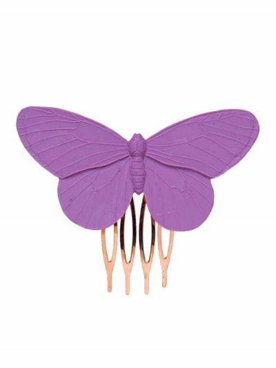 Peinecillo de flamenca mariposa de resina en malva