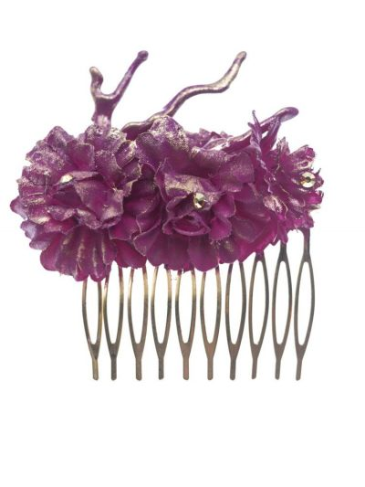 Medium flamenco comb with coral and bougainvillea fabric flowers with golden reflection