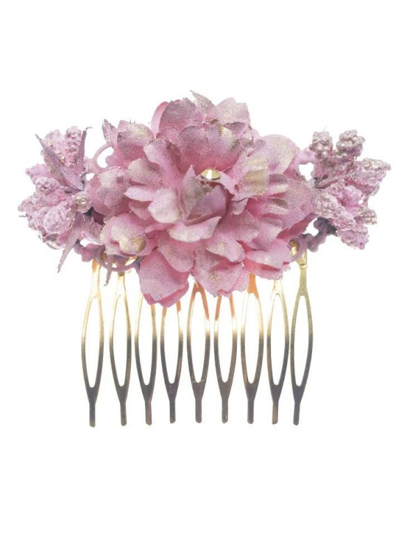 Medium flamenco comb with pink baby fabric flowers with golden reflection