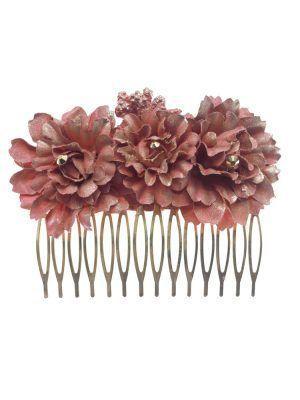 Peinecillo de flamenca mediano con flores de tela tono maquillaje con reflejo dorado