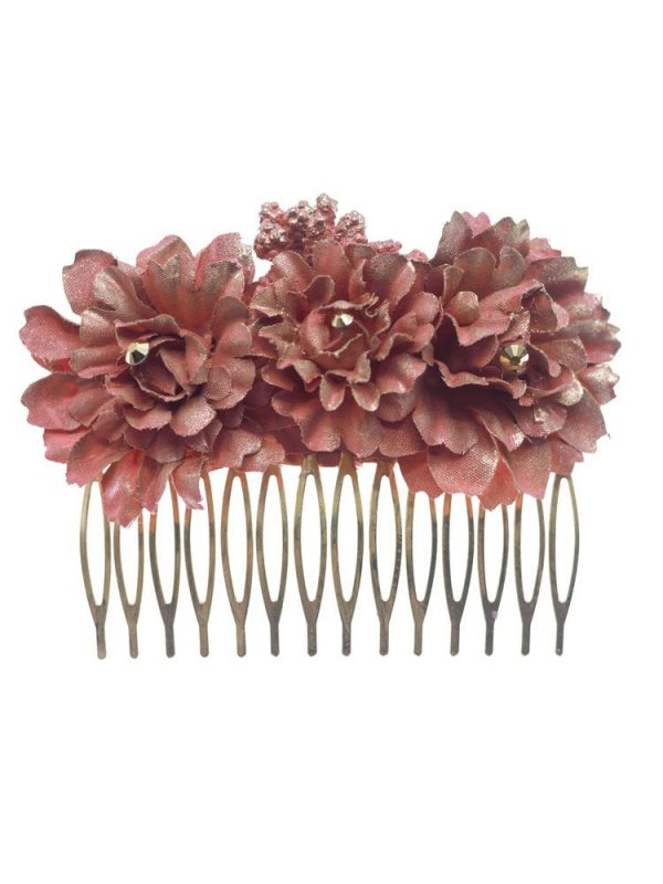 Medium flamenca comb with flowers of makeup tone fabric with golden reflection