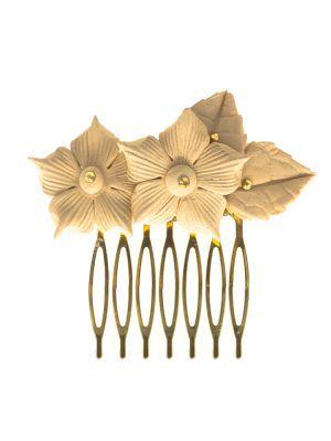 Peinecillo de flamenca metálico con flor de porcelana beige