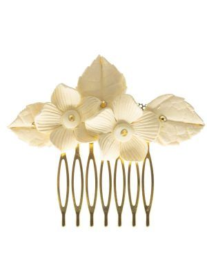 Peinecillo de flamenca metálico con flor de porcelana marfil