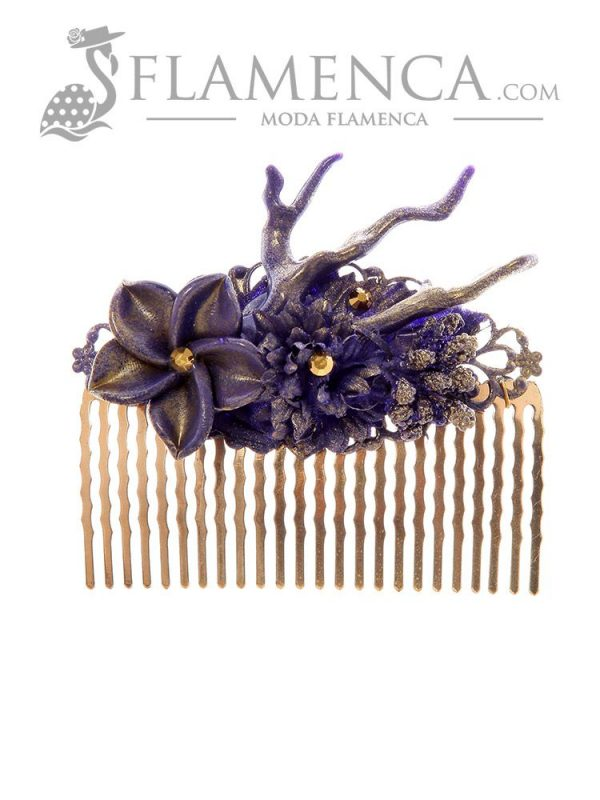 Purple flamenco comb with gold highlights