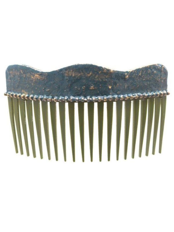 Flamenca wave comb with cracked green bottle and golden highlights