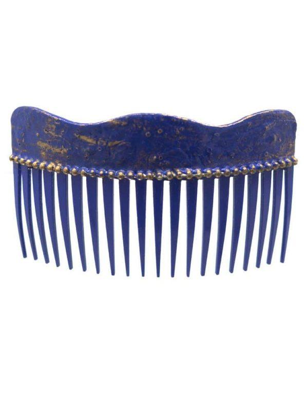 Peinecillo de flamenca onda con craqueado azulina y reflejos dorados