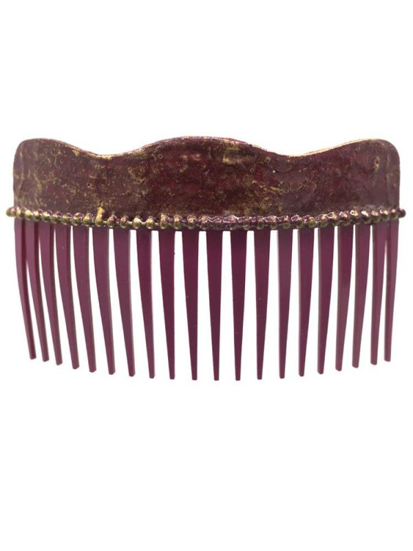 Flamenca wave comb with burgundy cracked and golden highlights