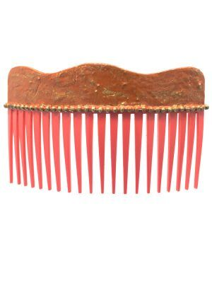 Flamenca wave comb with cracked coral and golden highlights
