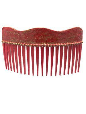 Flamenca wave comb with cracked red and golden highlights