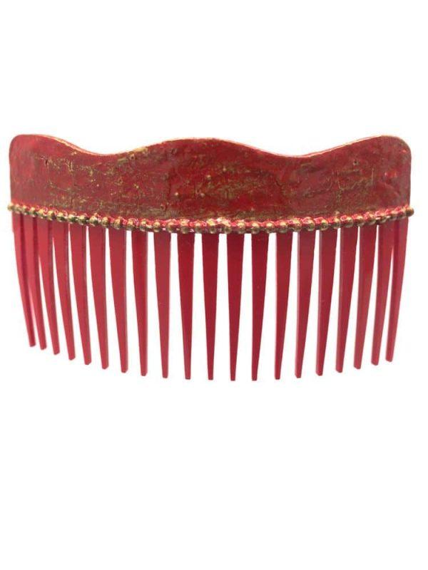 Peinecillo de flamenca onda con craqueado rojo y reflejos dorados