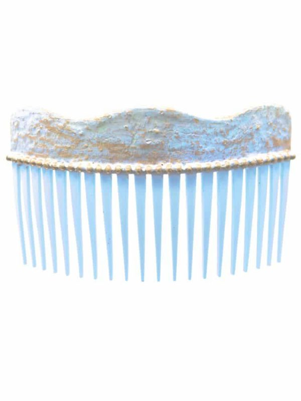 Flamenca light blue cracked wave comb with golden highlights