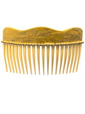 Flamingo comb mustard cracked wave with golden highlights