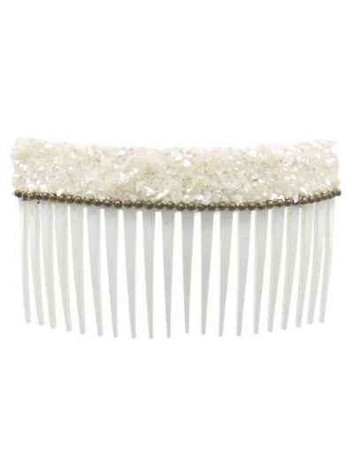 White mother of pearl flamenco wave comb