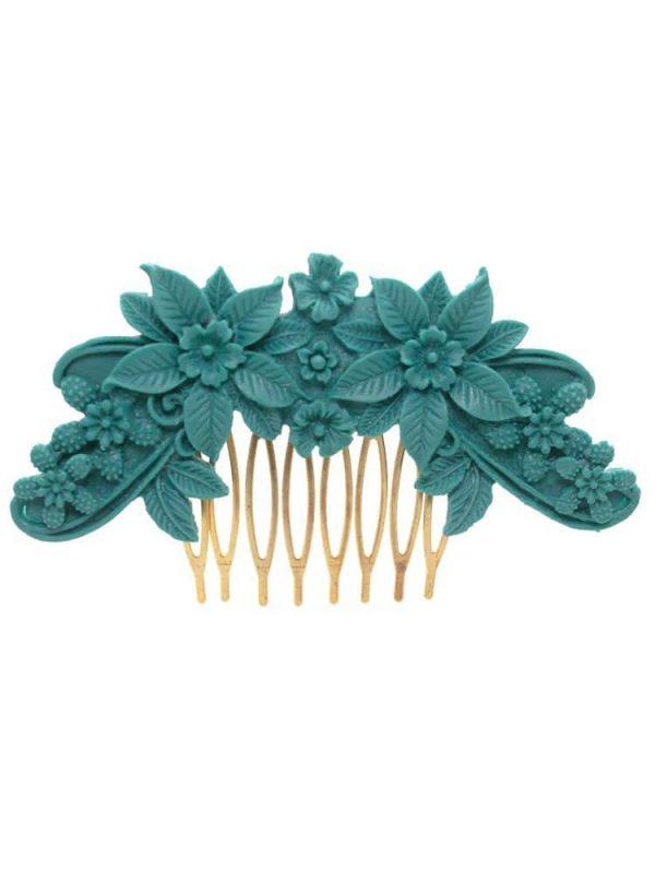 Peinecillo de flamenca resina floral color aguamarina