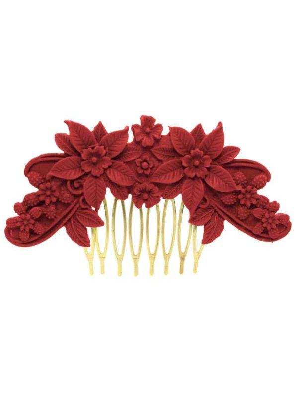 Flamenca comb resin floral color coral
