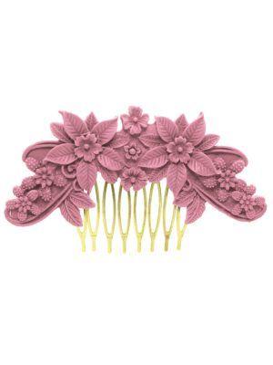 Flamenca lilac floral resin comb