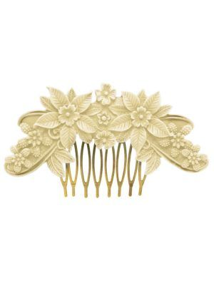 Ivory floral resin flamenco comb