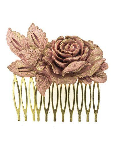 Peinecillo de flamenca rosa con reflejos dorados