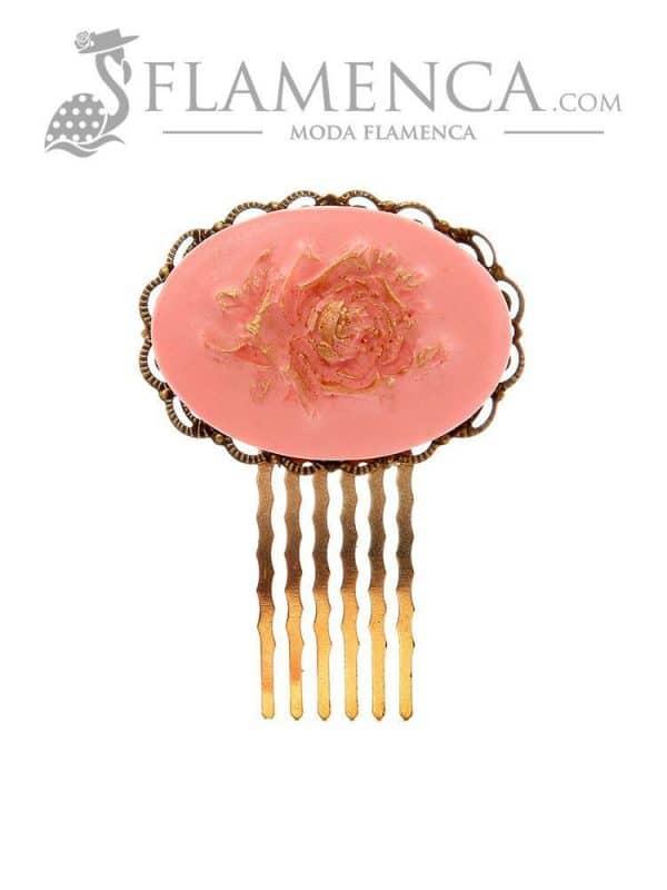 Peinecillo de flamenca rosa con reflejos oro