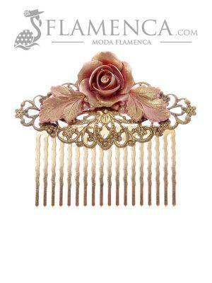 Peinecillo de flamenca rosa palo con reflejos oro