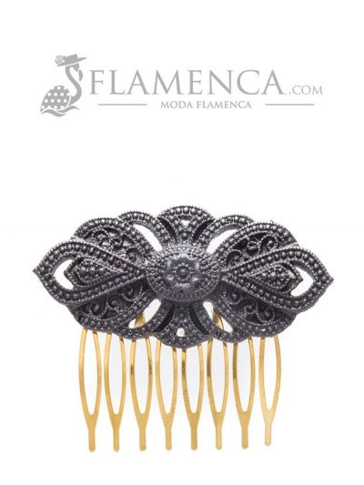 Peinecillos de flamenca de resina negro