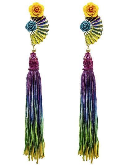Pendiente de flamenca abanico multicolor