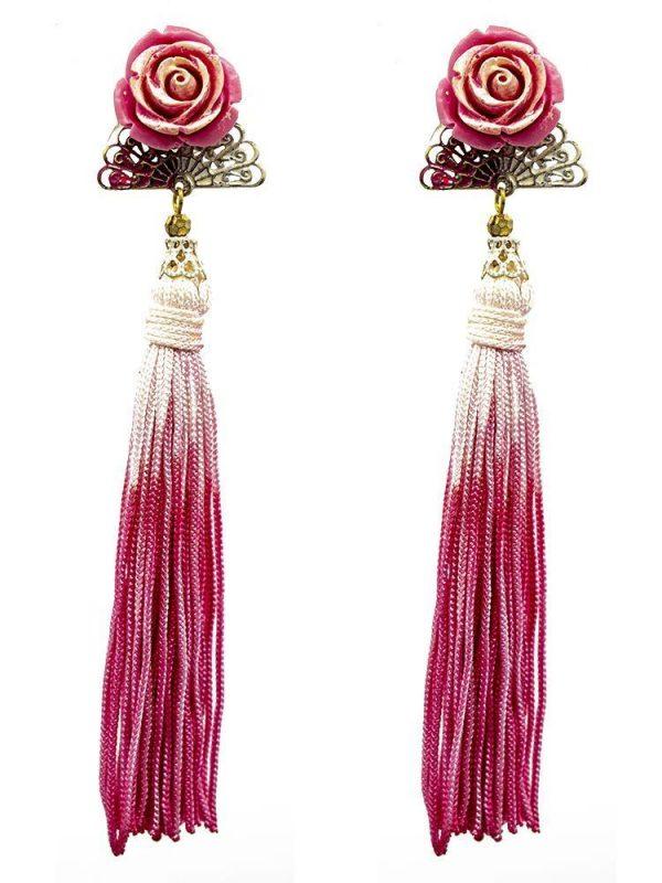 Pendiente de flamenca abanico rosa chicle