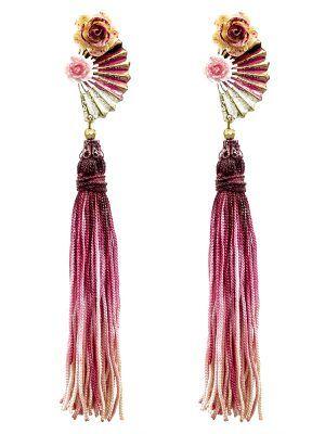 Pendiente de flamenca abanico tonos burdeos, rosa y crema