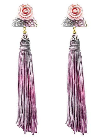 Pendiente de flamenca abanico tonos rosa, malva y plata