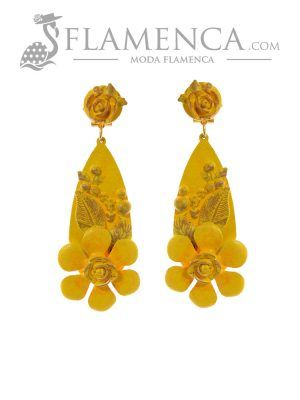 Yellow flamenco earring