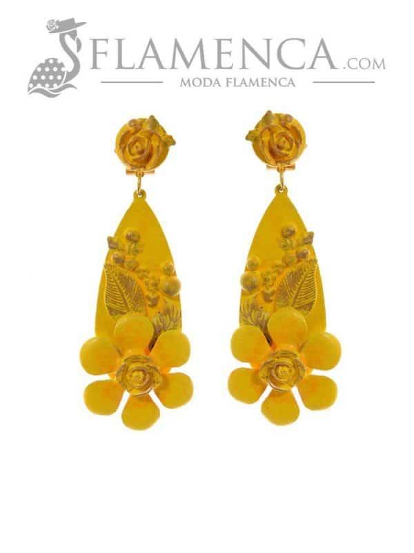 Pendiente de flamenca amarillo