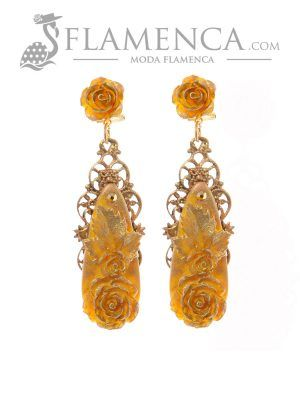 Pendiente de flamenca amarillocon reflejos oro