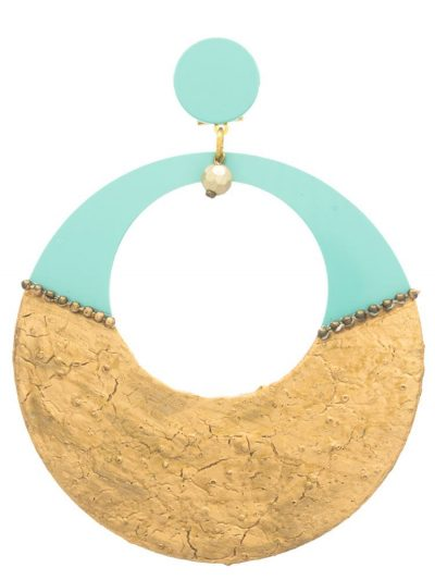 Flamenco earrings turquoise and cracked gold hoop