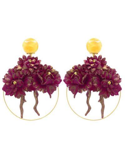 Pendiente de flamenca aro con detalle coral y flor de tela tono buganvilla