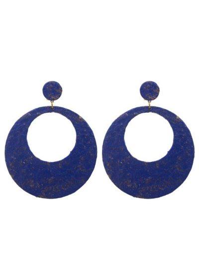 Pendiente de flamenca aro craqueado azulina con reflejos dorados