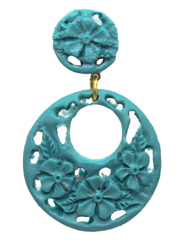 Earrings flamenco cyan floral resin ring