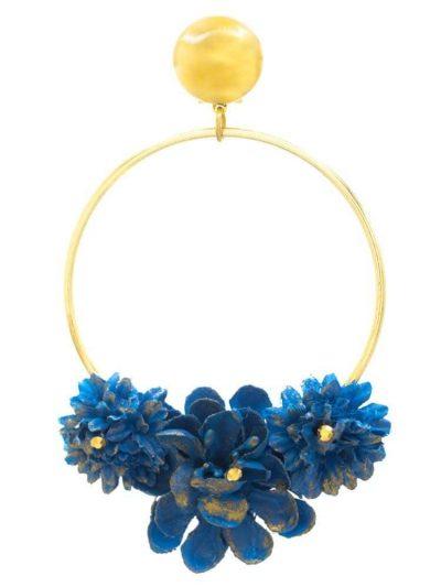 Pendiente de flamenca aro dorado con flor de tela azul ducado