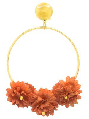 Flamenco gold earring with orange fabric flower and golden highlights