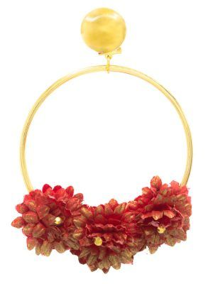 Golden hoop flamenco earring with red fabric flower and golden highlights