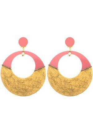 Flamenco hoop earring in makeup tone and cracked gold