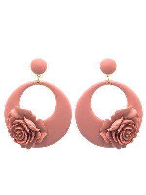 Flamenco earring floral hoop makeup