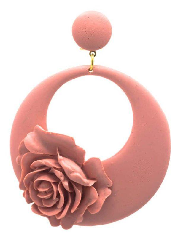 Pendiente de flamenca aro floral maquillaje