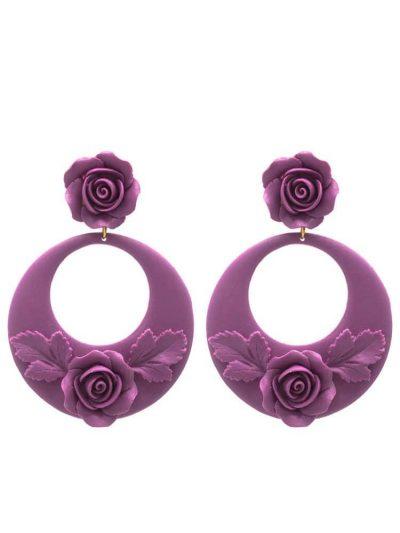Flamenco earring violet floral hoop