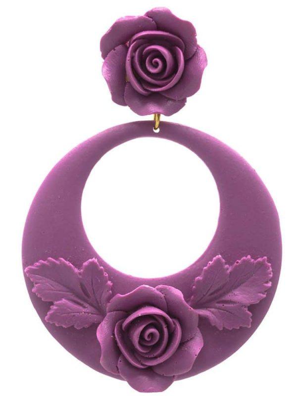 Pendiente de flamenca aro floral violeta