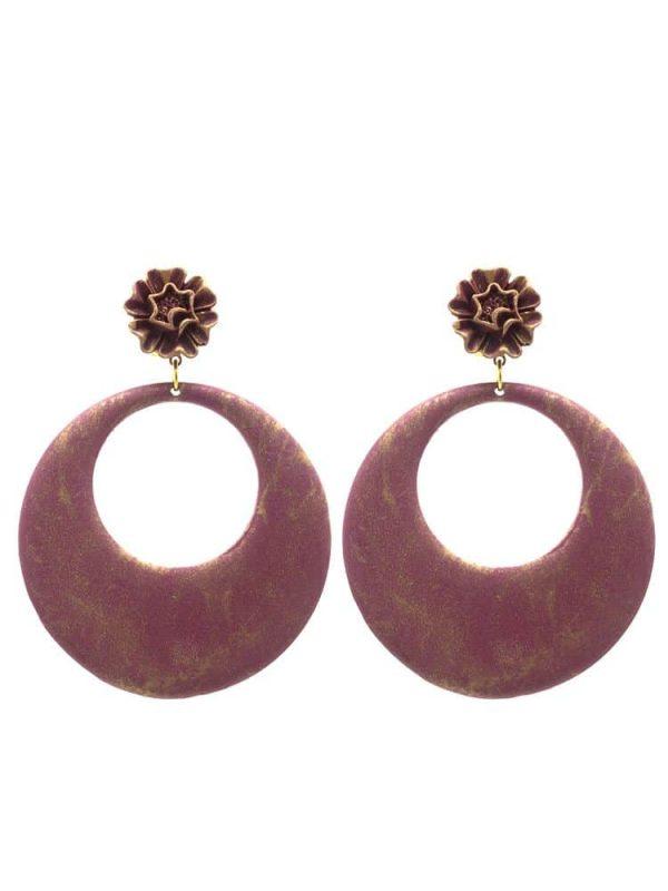 Flamenca raspberry hoop earring with gold highlights