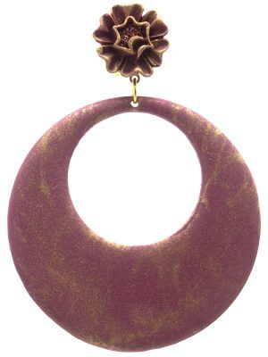 Flamenca raspberry hoop earring with gold highlights