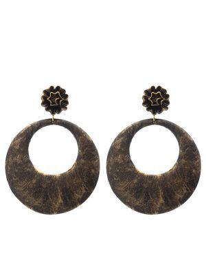 Flamenco black hoop earring with gold highlights