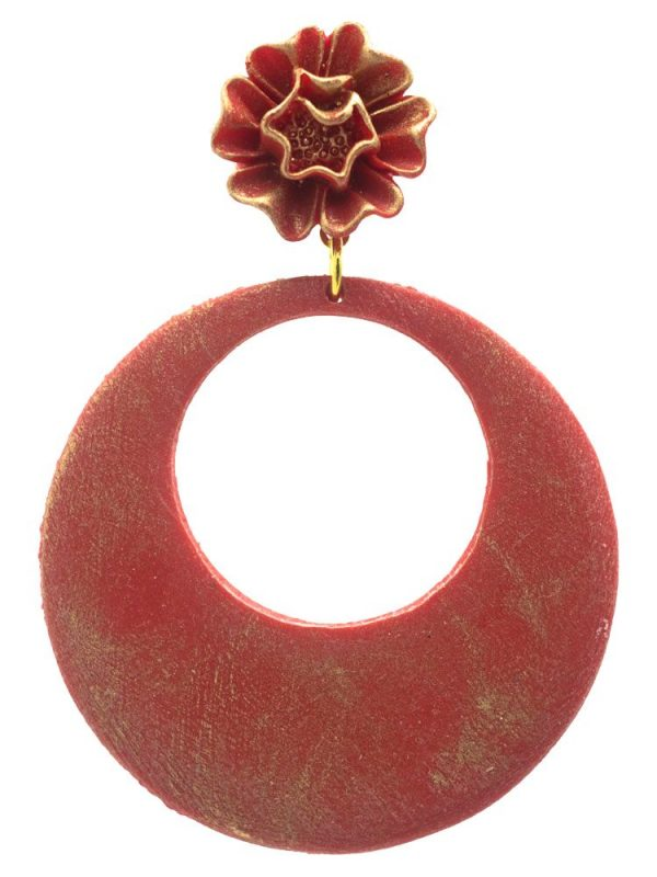 Pendiente de flamenca aro rojo con reflejos oro