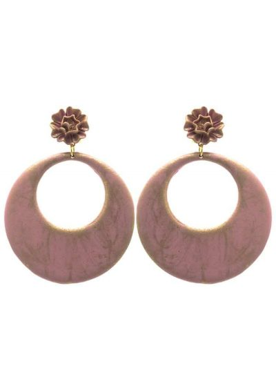 Flamenco earring pink hoop stick with gold highlights